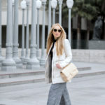 Lacma,Zara culottes,How to wear culottes,Chanel boots,Chanel patent leather boots,balenciaga necklace,maje jacket,monochromatic outfit,Celine sunglasses,black and white zara outfit,Celine sunglasses,Chanel classic,LACMA lamps,balenciaga pendant necklace,monochromatic B&W outfit