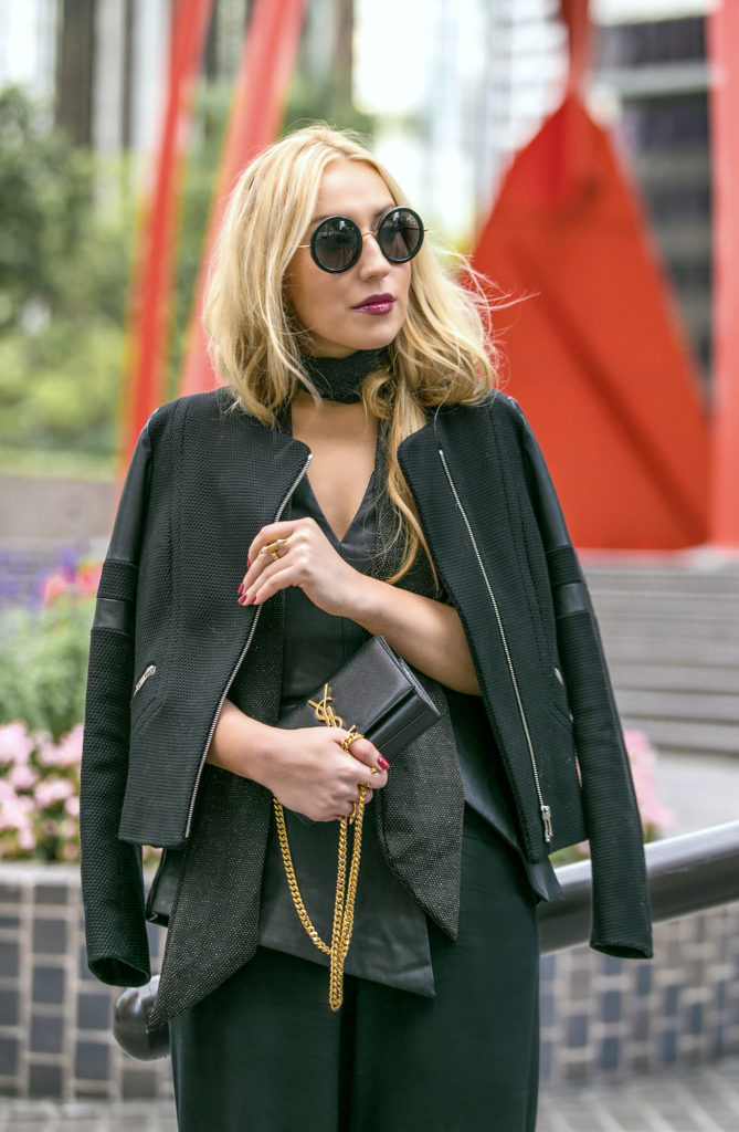 black minimalistic outfit,ALAIA heels,Alaia Sandals,Culottes outfit,YSL MONOGRAM BAG,How to wear culottes,the row sound sunglasses,finders keepers bustier,dolan t-shirt,dior fluid stick in Trompe L'Oeil,Sandro jacket,ysl bag,saint laurent bag,YSL BAG with MONOGRAM,