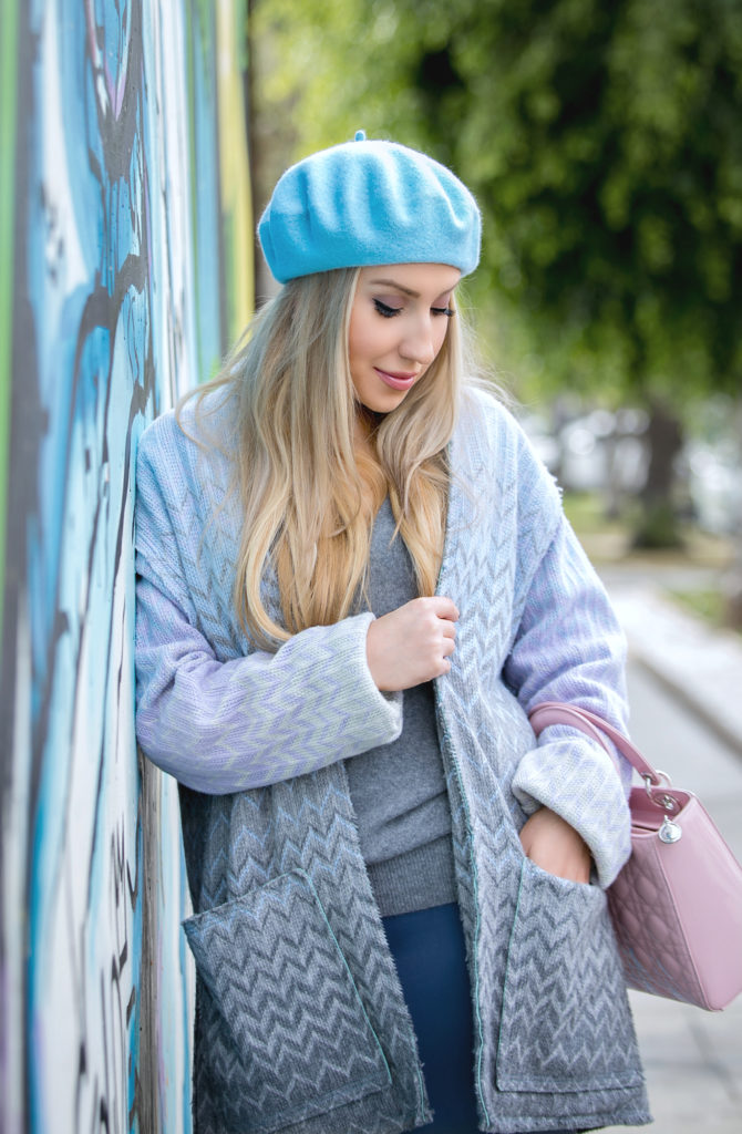 blue beret,beret outfit,Pastel coat outfit,Casadei otk boots,Missoni Coat,Coat and beret outfit,Pantone 2016,Pantone 2016 outfit,missoni pastel coat,lady dior outfit,blue beret and dior so real sunglasses,Casadei boots