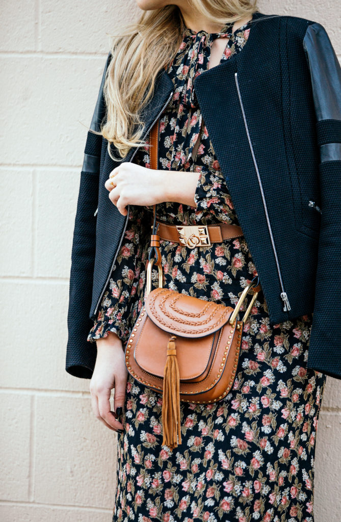 hermes belt,Reformation floral dress,reformation midi dress,sandro jacket,reformation galina dress,polka dot tights,Chloe hudson,narciso rodriguez boots,Reformation dress,floral grunge look,tan accessories