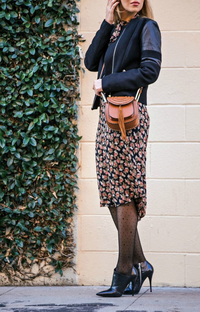 hermes belt,Reformation floral dress,reformation midi dress,sandro jacket,reformation galina dress,polka dot tights,Chloe hudson,narciso rodriguez boots,Reformation dress,floral grunge look,tan leather accessories