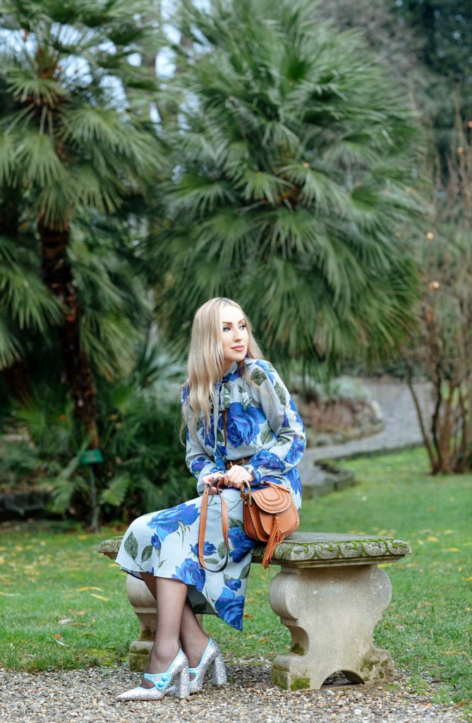 Miu Miu glitter pumps,Pastel pink coat and floral dress,Chloe hudson bag,reformation floral dress,Blue flower midi dress,reformation midi dress,Reformation galina dress,Florals for spring, Reformation dress,Miu Miu sparkle shoes,Reformation bow dress