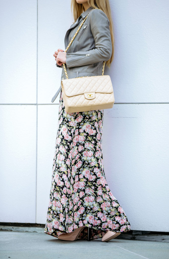 Pastel accessories,Reformation bloom dress,Reformation floral dress outfit,Maje leather jacket,ALEXANDER MCQUEEN Perspex heel leather ankle boots,Chanel classic jumbo,Maje beige leather jacket,Reformation maxi dress,Reformation floral maxi dress,Classic Chanel jumbo bag,