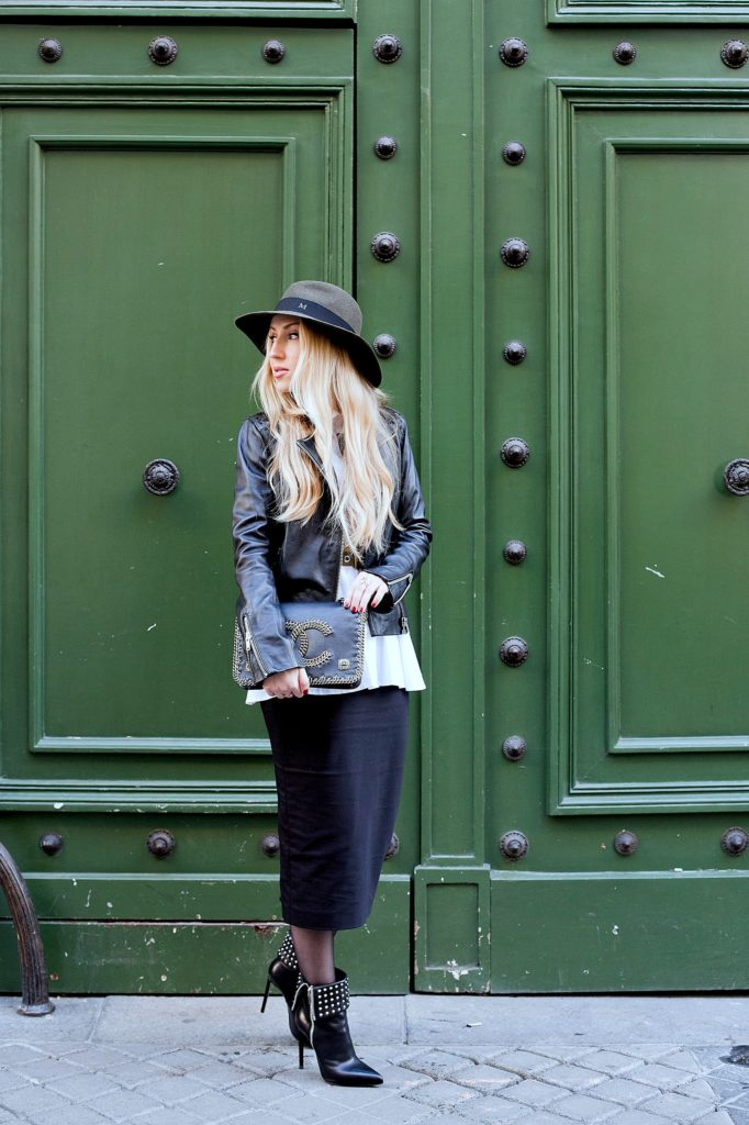 Saint Laurent Boots,Parisian doors,Saint laurent booties,Maison michel felt hat,Maje leather jacket,Maje leather jacket outfit,Maison Michel,Colorful doors in Paris,Maison Michel Henrietta hat,maje Leather jacket and zara pencil skirt,Maison michel hat outfit,peplum shirt,chanel salzburg