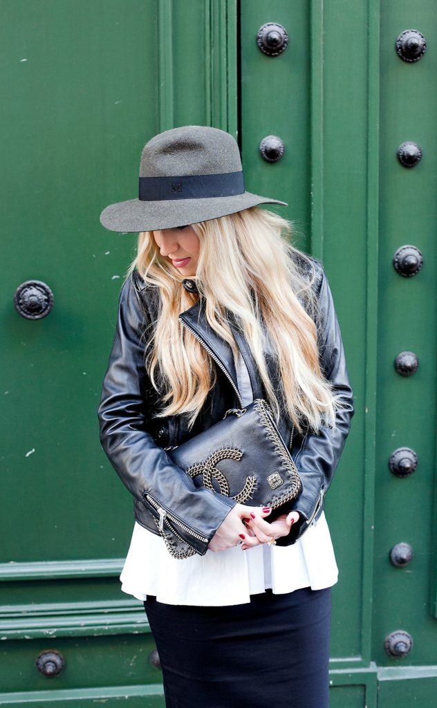 Parisian Doors,Saint Laurent Boots,Parisian doors,Saint laurent booties,Maison michel felt hat,Maje leather jacket,Maje leather jacket outfit,Maison Michel,Colorful doors in Paris,Maison Michel Henrietta hat,maje Leather jacket and zara pencil skirt,Maison michel hat outfit,peplum shirt,chanel salzburg
