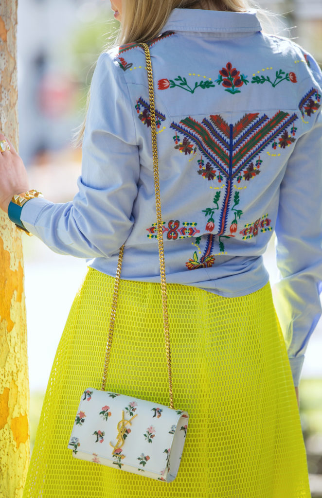 nicholas kirkwood beya loafer,Pastel spring outfit,Yellow skirt outfit,Asos shirt,asos western shirt,hermes collier de chien cuff,Saint Laurent prairie bag,Saint laurent floral bag,Saint Laurent bag,How to style yellow skirt,Saint laurent spring outfit,festival ready
