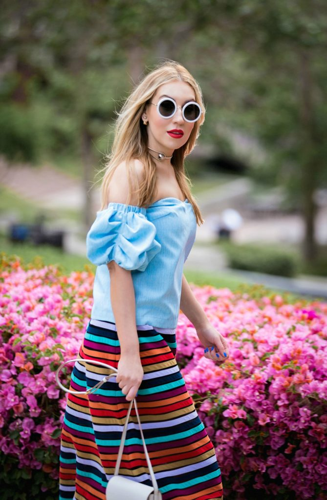 how to style off the shoulder top,celine troutteur small bag,renamed puff sleeve top,dior pumps,Renamed top,celine bag,renamed off the shoulder top,the row 8 round sunglasses,celine troutteur white bag,rainbow midi skirt, puff sleeve top,dior shoes,cynthia rowley rainbow skirt