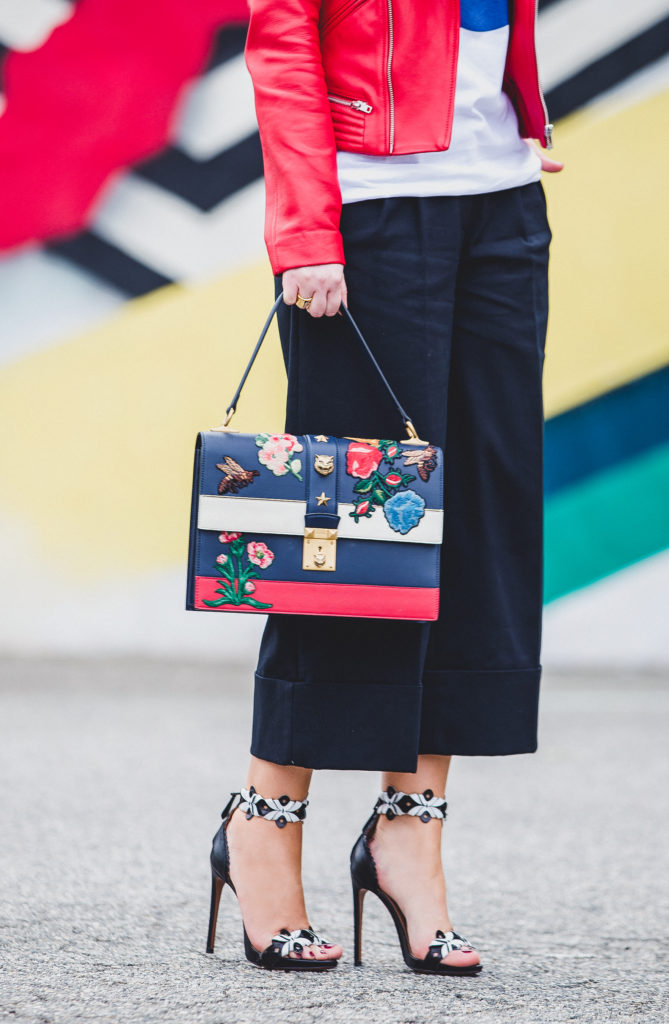 LA murals graffiti walls,maje leather jacket,how to wear logo t-shirt, Alaia sandals,pepsi t-shirt,gucci ss'16 bag,gucci embroidered bag,how to wear bandana scarf,how to wear red leather jacket,Gucci cat lock bag,maje basalt leather jacket,gucci flower embroidered bag
