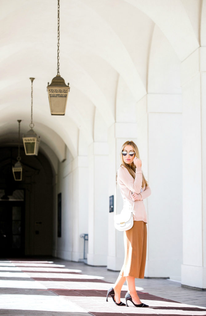 celine trotter,celine bag,beige outfit,how to wear culottes,pastel outfit,dior curved heel pumps,culottes outfit,dior so real sunglasses and celine bag,giorgio armani necklace,dior pumps,blush tones
