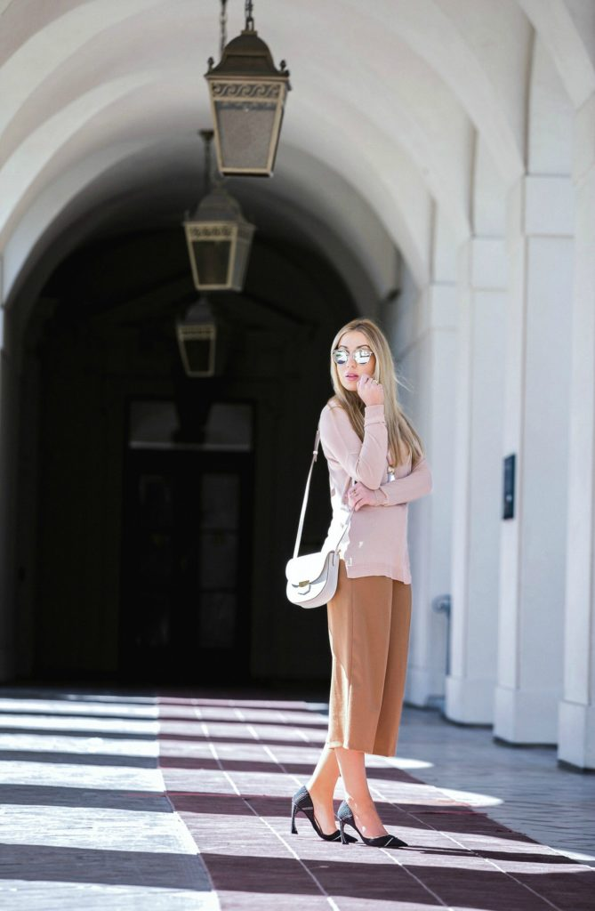 celine trotteur,celine bag,beige outfit,how to wear culottes,pastel outfit,dior curved heel pumps,culottes outfit,dior so real sunglasses and celine bag,giorgio armani necklace,dior pumps