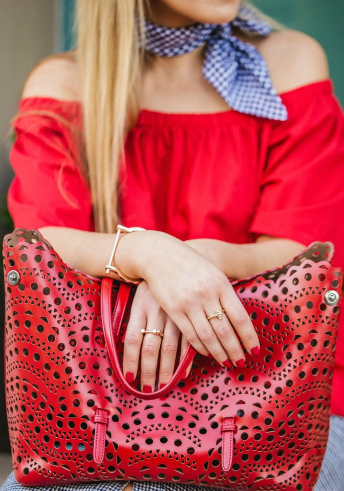 Alaia vine tote,Alaia vine perforated bag,how to wear off the shoulder top,alaia bag,Celine sunglasses,Reformation skirt,How to wear bandana,Reformation skirt set,H&M off the shoulder top,Celine cat eye sunglasses,Dior Tribal flats,Alaia Laser cut bag,Dior Ballerina flats,miansai bracelet,miansai rings