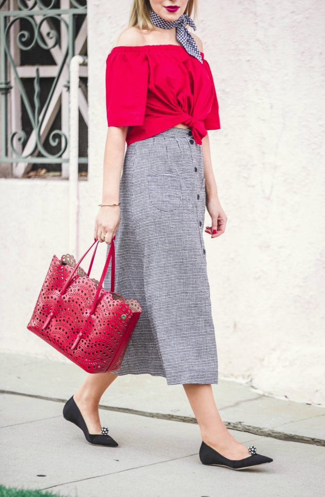 Alaia vienne tote,Alaia vienne perforated bag,how to wear off the shoulder top,alaia bag,Celine sunglasses,Reformation skirt,How to wear bandana,Reformation skirt set,H&M off the shoulder top,Celine cat eye sunglasses,Dior Tribal flats,Alaia Laser cut bag,Dior Ballerina flats