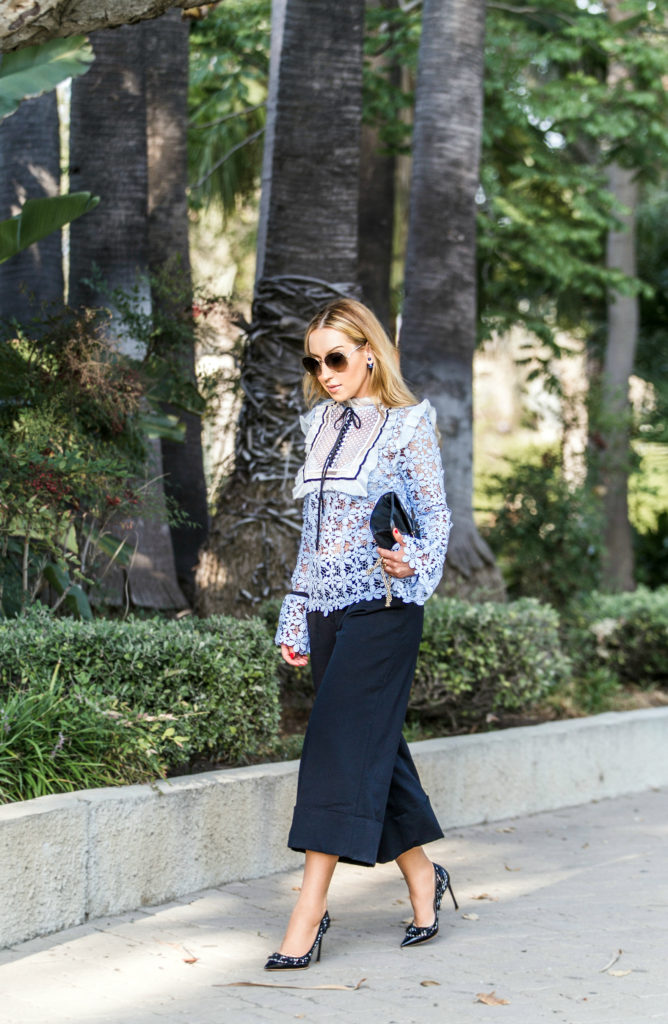 valentino camo bag,Self Portrait blue Balloon Sleeve Lace Top,Self Portrait Top,dior pumps,Tibi culottes,Self Portrait Lace Top,dior shoes,Self Portrait blouse,dior laser cut pumps,chloe carlina,valentino bag,pastel lace top