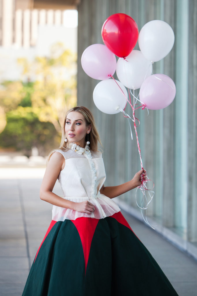 delpozo top, delpozo linen a-line skirt,delpozo skirt,downtown la photoshoot,balloons,delpozo silk top,delpozo look,delpozo peplum top,pearl earrings,delpozo embellished collar top,delpozo beaded top,salvatore ferragamo pearl earrings,photoshoot with balloons,delpozo double linen a-line skirt,alexander mcqueen women pink perspex heel leather ankle boots,balloons sunset,dreamy delpozo