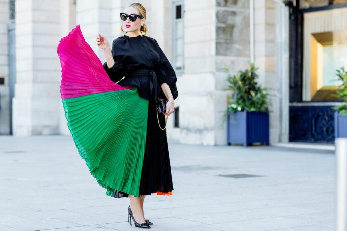 Ferragamo Jacket,Marni swirl gold earrings,Dior laser flower cut pumps,Ferragamo stripe maxi dress,Ferragamo pleat dress,YSL bag and Dior pumps,Celine Sunglasses,Marni gold earrings,ferragamo baloon sleeve jacket,Ferragamo sash belt jacket,Marni runway earrings,Colorful pleated skirt,Fashion Photoshoot in Paris,Colorful Pleats,summer in Paris,saint laurent chain bag,miansai bracelet
