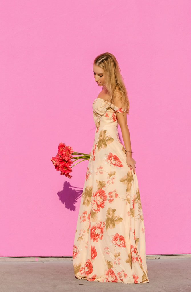 reformation-floral-off-the-shoulder-dress,la-pink-wall,reformation-dressfloral-maxi,pastel-floral-maxi-dress,floral-maxi-dress,maxi-dress,oscar-de-la-rent-tulip-earrings,pink-wall,maxi-off-the-shoulder-dress,reformation,reformation-floral-dress,sun-kissed