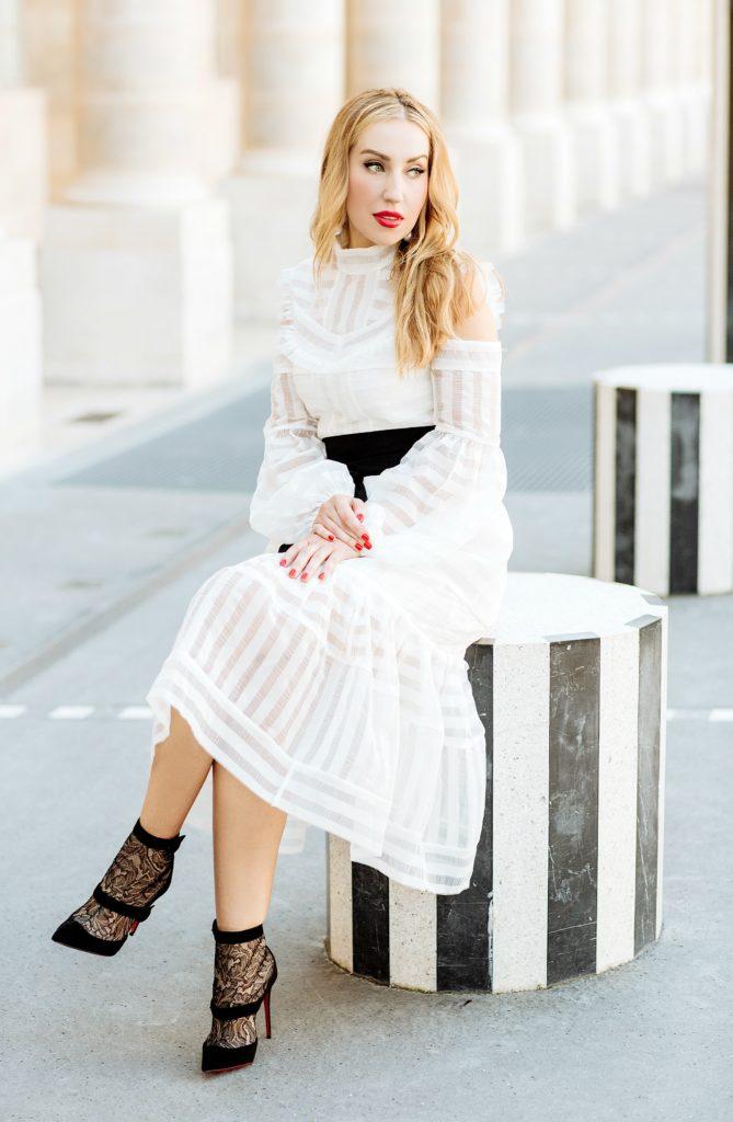 salvatore-ferragamo-earrings,palais-royal-photo-shoot,erdem-alexis,erdem cold shoulder-dress,erdem-dress,white-dress-with-lace-boots,palais-royal-fashion-photo-shoot,erdem-white-dress,christian-louboutin-boots,erdem-alexis-dress,palais-royal,christian-louboutin Boteroboot lace-boots