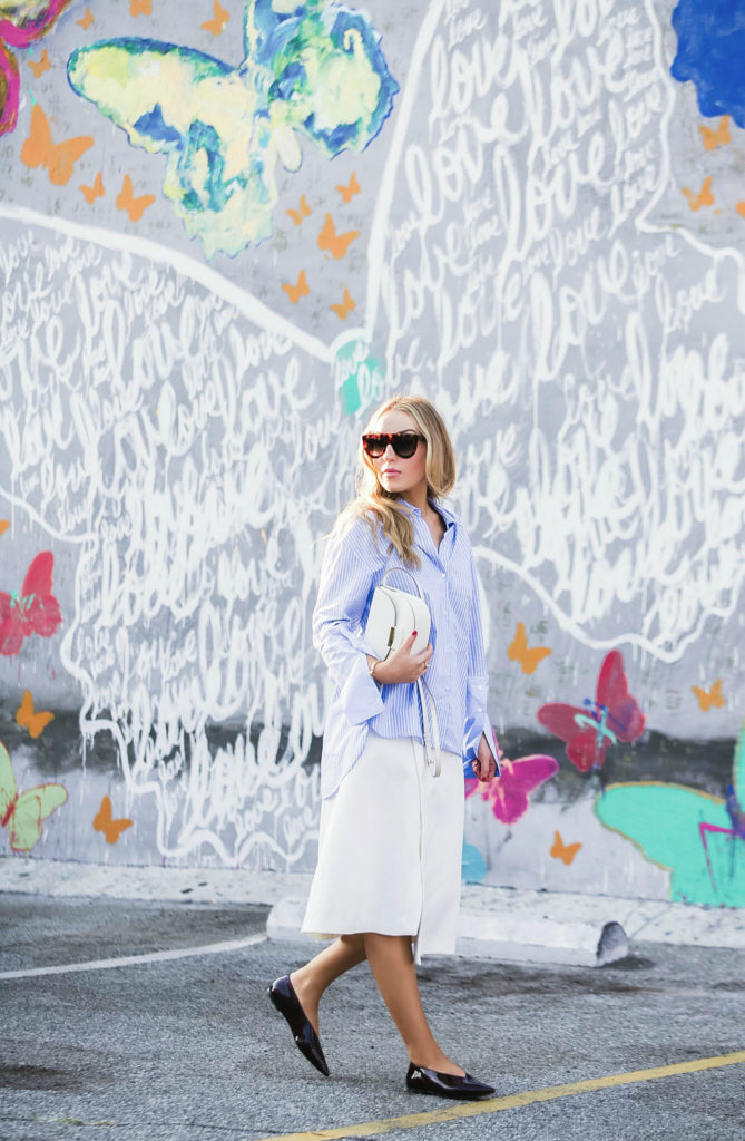the-dance-of-the-butterflies,celine-trotteur-bag ,how-to-wear-oversize-sleeves-trend,maje-wrap-waist-skirt,zara-oversize-sleeves-shirt,celine-patent-leather-flats,celine-flats,celine-sunglasses,striped-cuffs-shirt-zara,celine-shadow-sunglasses,butterfly-graffiti