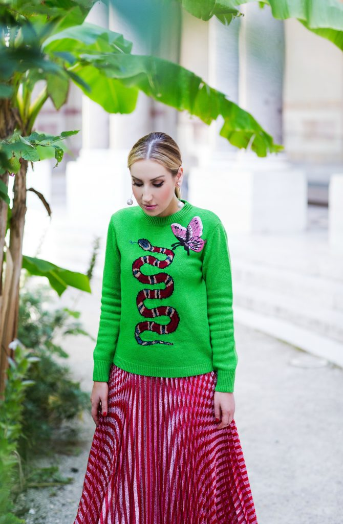gucci-green-sweater,gucci-outfit,proenza-schouler-grommet-leather-shoes,proenza-schouler-mules,gucci-metallic-pleated-skirt,gucci-metallic-pleated-skirt-with-sweater,gucci-snake-intarsia-sweater,gucci-snake,gucci-metallic-pleated-skirt-and-sweater,saint-laurent-floral-bag,gucci-sweater,gucci-snake-and-butterfly-sweater,gucci fauna