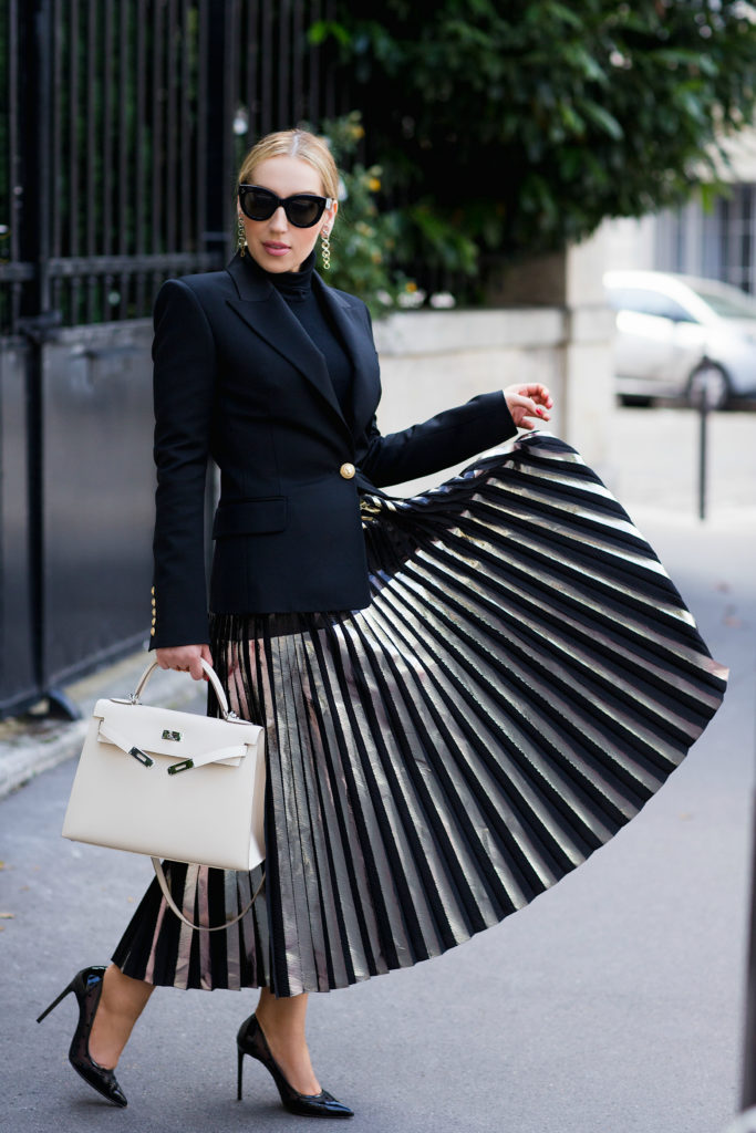 proenza-schouler-metallic-pleated-skirt,proenza-schouler-metallic-foil-pleated-skirt,balmain-blazer,balmain-wool-twill-blazer,celine-cat-eye-sunglasses,hermes-kelly-craie,hermes-kelly-bag,dior-chain-earrings,proenza-schouler-skirt,balmain-blazer-outfit,saint laurent pumps,wolford colorado bodysuit