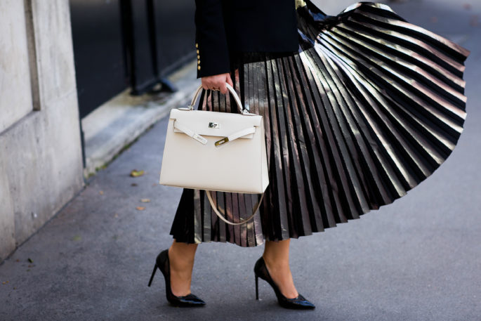 proenza-schouler-metallic-pleated-skirt,Metallics,proenza-schouler-metallic-foil-pleated-skirt,balmain-blazer,balmain-wool-twill-blazer,celine-cat-eye-sunglasses,hermes-kelly-craie,hermes-kelly-bag,door-chain-earrings,proenza-schouler-skirt,balmain-blazer-outfit,saint laurent pumps,wolford colorado bodysuit