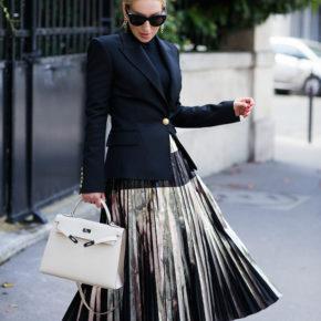 proenza-schouler-metallic-pleated-skirt,proenza-schouler-metallic-foil-pleated-skirt,balmain-blazer,balmain-wool-twill-blazer,celine-cat-eye-sunglasses,hermes-kelly-craie,hermes-kelly-bag,dior-chain-earrings,proenza-schouler-skirt,balmain-blazer-outfit,saint laurent pumps,wolford colorado bodysuit