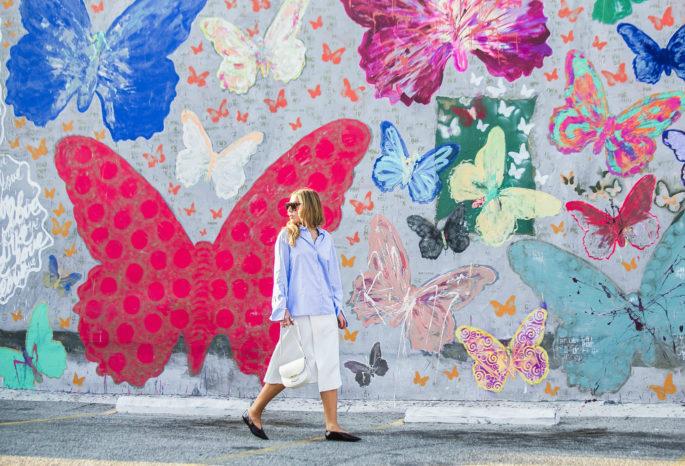 """dance of the butterflies"",celine-trotteur-bag ,how-to-wear-oversize-sleeves-trend,maje-wrap-waist-skirt,zara-oversize-sleeves-shirt,celine-patent-leather-flats,celine-flats,celine-sunglasses,striped-cuffs-shirt-zara,celine-shadow-sunglasses,butterfly-graffiti"