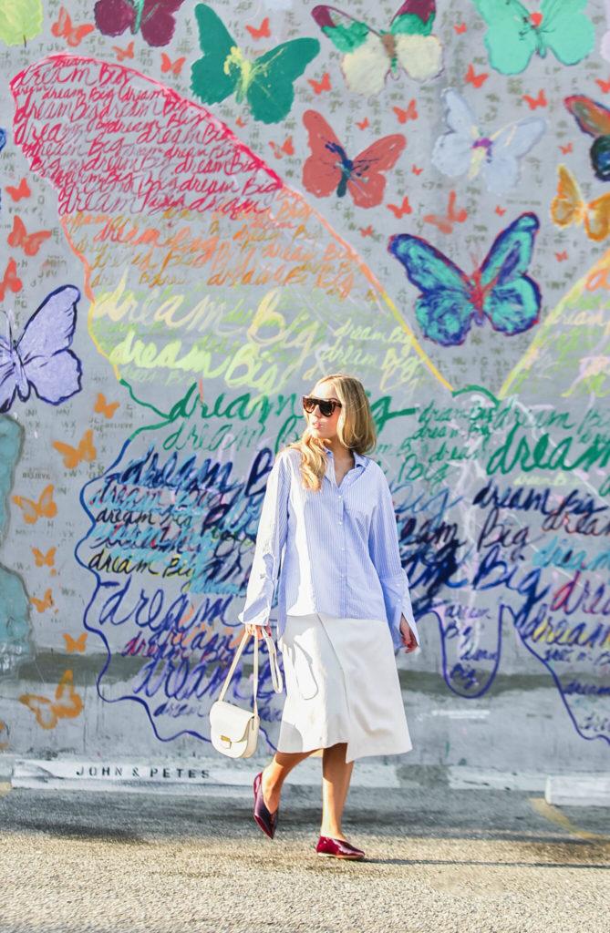 the-dance-of-the-butterflies,celine-trotteur-bag ,how-to-wear-oversize-sleeves-trend,maje-wrap-waist-skirt,zara-oversize-sleeves-shirt,celine-patent-leather-flats,celine-flats,celine-sunglasses,striped-cuffs-shirt-zara,celine-shadow-sunglasses,butterfly-graffiti