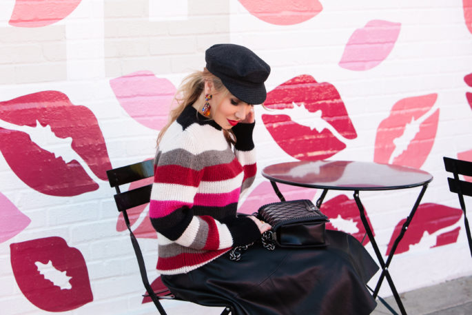 LA lips wall, kisses and stripes,christian louboutin lace boots,chanel bag,isabel marant evie flanel hat,Christian louboutin boots with lace,mac ruby woo,christian louboutin lace and leather booties,Iro solal sweater,zara leather skirt,Bright stripe sweater,how to style cadet hat,Chanel bag and christian louboutin boots,Iro and Isabel Marant look,christian louboutin booties
