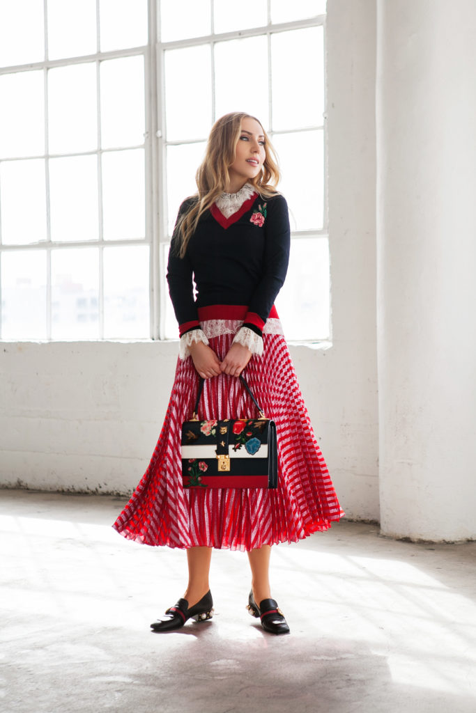 GUCCI flower Embroidered Knit Sweater,gucci knit top,Gucci Sweater,Gucci pleated skirt,Gucci outfit,gucci embroidered top,GUCCI rose Embroidered Knit Sweater,Gucci full look,GUCCI Pleated metallic striped midi skirt,Gucci Pearl loafers,Gucci flower Bag,Gucci Peyton,Gucci peyton loafers,GUCCI Rose Knit Sweater,Philosophy Di Lorenzo Serafini Lace Blouse