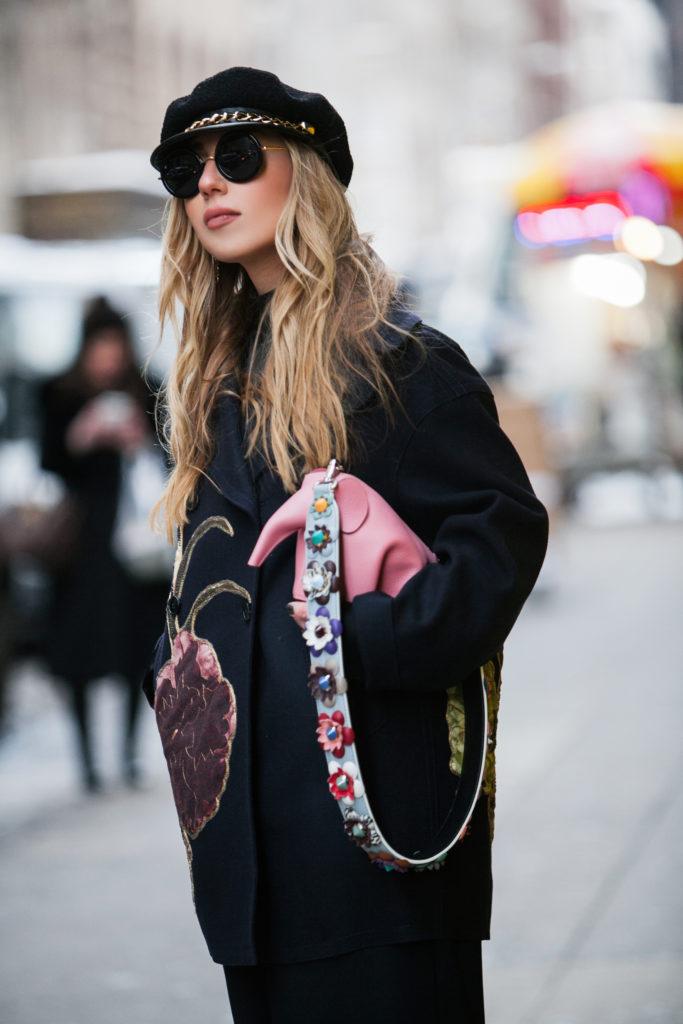 Eugenia Kim Marina hat,new york street style winter,Valentino coat,Valentino floral coat,loewe pink elephant,Loewe elephant bag,NYFW'17,NYFW street style,Loewe bag,New York Street style,NYFW17 street style,valentino kimono 1997 coat,Cadet hats trend,valentino kimono 1997, eugenia kim cadet hat,Eugenia kim marina,St.Regis NYC,hm wide leg pants,February in NYC,fendi flora strap,fendi flower strap