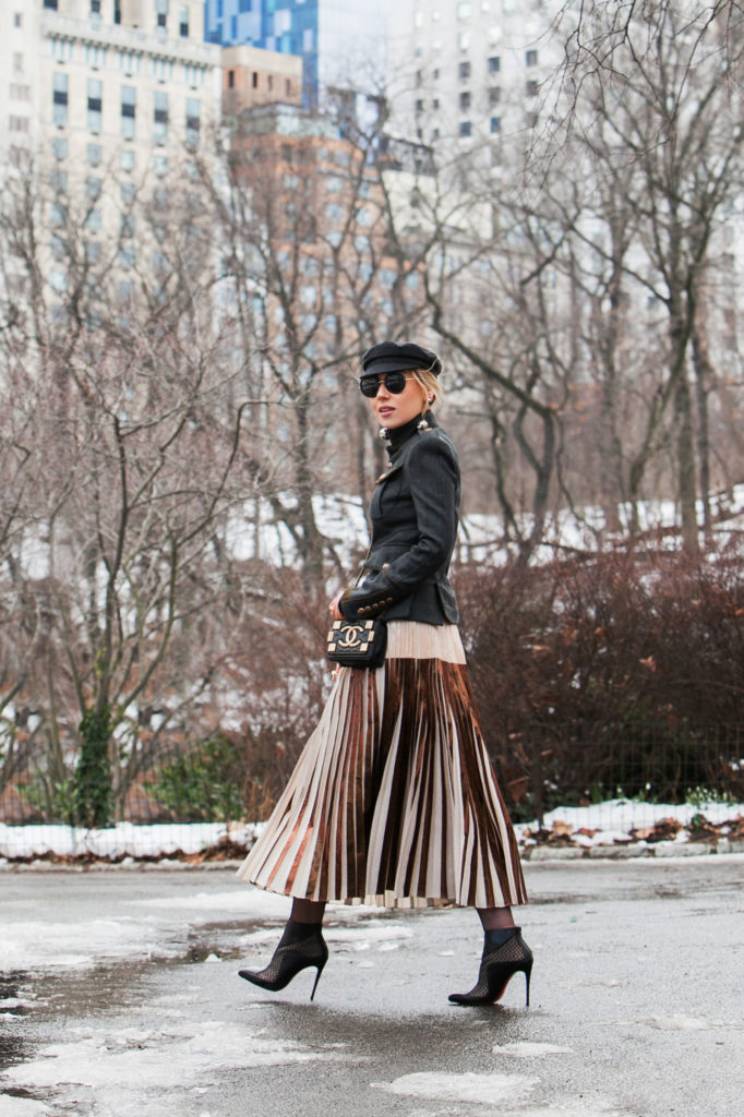 Central park pond,Central park photo shoot,NYFW17 street style,Manhattan View from Central Park,Central Park winter photo shoot,PROENZA SCHOULER Pleated Skirt,PROENZA SCHOULER Pleated Cloqué Skirt,PROENZA SCHOULER Pleated metallic Skirt,DSQUARED2 military coat,DSQUARED2 military jacket,Isabel Marant Etoile Evie,Chanel brick boy bag,Isabel Marant Etoile Evie hat,Dsquared2 wool coat,Prada Multi-sphere drop earrings,Grey and Gold outfit,DSQUARED2 jacket,Central Park winter photo shoot idea,DSQUARED2 Livery Tenant military jacket,Chanel brick boy,christian louboutin lace boots,christian louboutin leather lace boots