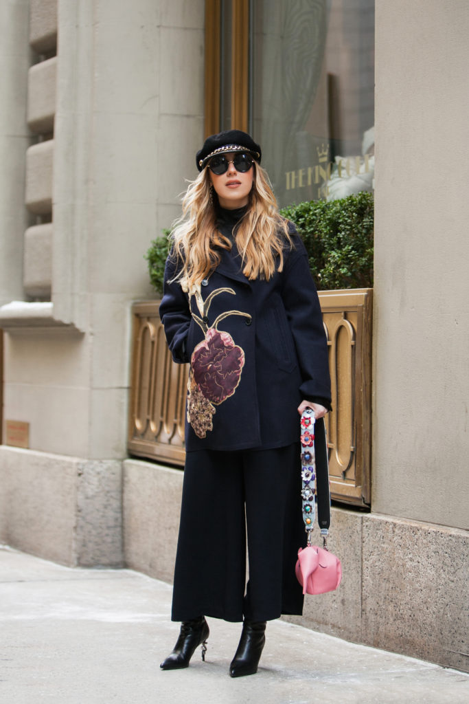 Eugenia Kim Marina hat,new york street style winter,Valentino coat,Valentino floral coat,loewe pink elephant,Loewe elephant bag,NYFW'17,NYFW street style,Loewe bag,New York Street style,NYFW17 street style,valentino kimono 1997 coat,Cadet hats trend,valentino kimono 1997, eugenia kim cadet hat,Eugenia kim marina,St.Regis NYC,hm wide leg pants,February in NYC