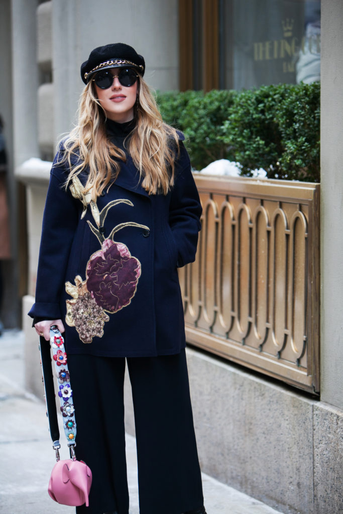 Eugenia Kim Marina hat,new york street style winter,fendi strap,Valentino coat,Valentino floral coat,loewe pink elephant,Loewe elephant bag,NYFW'17,NYFW street style,Loewe bag,New York Street style,NYFW17 street style,valentino kimono 1997 coat,Cadet hats trend,valentino kimono 1997, eugenia kim cadet hat,Eugenia kim marina,St.Regis NYC,hm wide leg pants,February in NYC