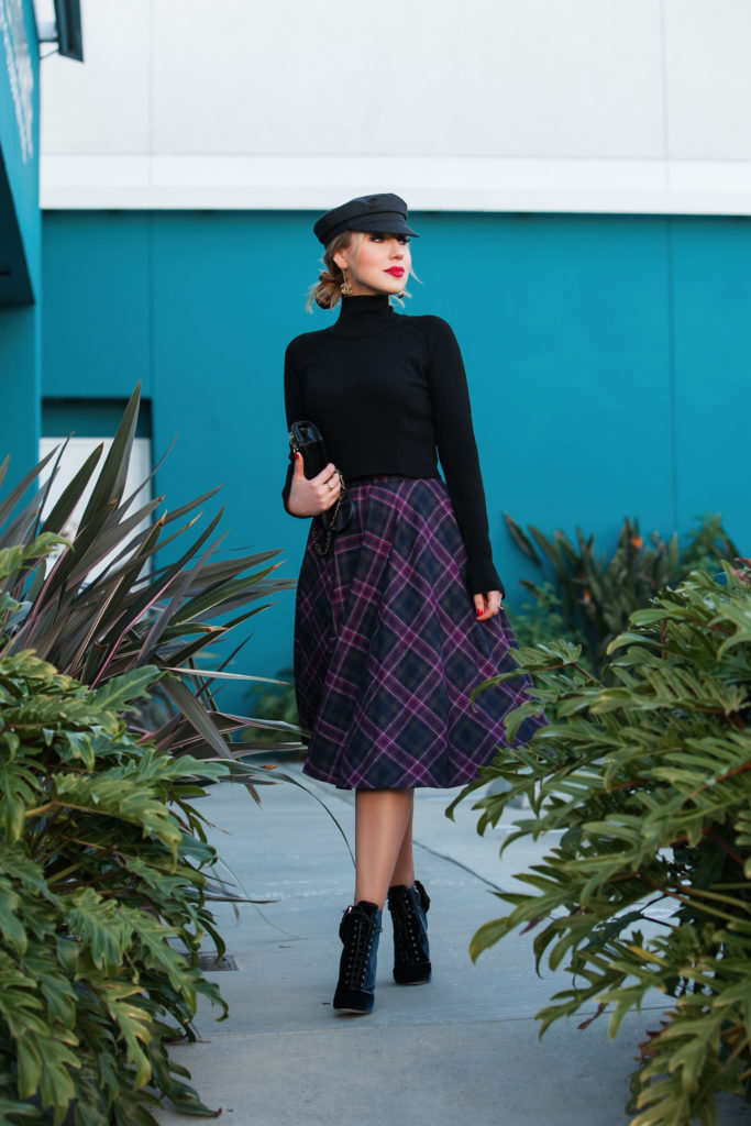 Isabel Marant wool hat,how to wear turtleneck,Black zara knit turtleneck,Plaid wool skirt,MSGM midi skirt,Chanel cc gold earrings,MAC Ruby Woo,Newsboy hat,Chanel gold dangling earrings,Miu Miu Velvet boots,Check midi skirt,Isabel Marant Evie hat,Cadet hat,Miu Miu boots, plaid and velvet