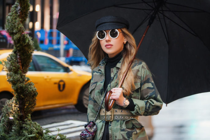 Rainy day fashion,topshop camo jacket,how to wear camo,nyfw 2017,NYFW street style,the row 8 sunglasses,NYC taxi,nyfw17,how to mix camouflage and floral print,prada flower print dress,NYFW17 street style,camo and sequins,chanel sequin bag,dior boots,topshop camouflage,topshop jacket,NYC view from the window,dior white boots,chanel camo sequin bag,marni belt,dior patent leather boots