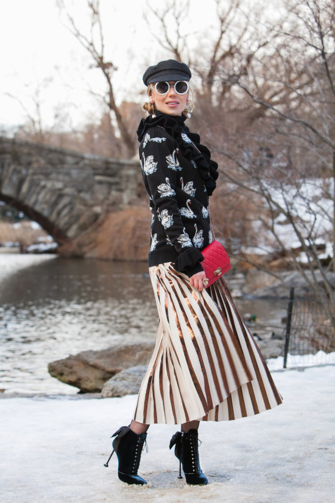 Central Park winter fashion photo shoot,Rose gold skirt,Central Park Pond,chanel Red caviar WOC,proenza schouler Metallic Skirt,proenza schouler Pleated Cloqué Skirt,Isabel Marant Evie Cap,NYFW17 Street Style,Central Park View,Stella McCartney swan sweater,,Miu Miu Velvet Boots,Centrak Park winter Photo shoot,Stella McCartney swan jumper,proenza schouler Pleated Metallic Skirt,Stella McCartney sweater,Chanel Wallet on Chain,Miu Miu Bow Velvet Boots,Miu Miu Boots,Rose gold Pleats