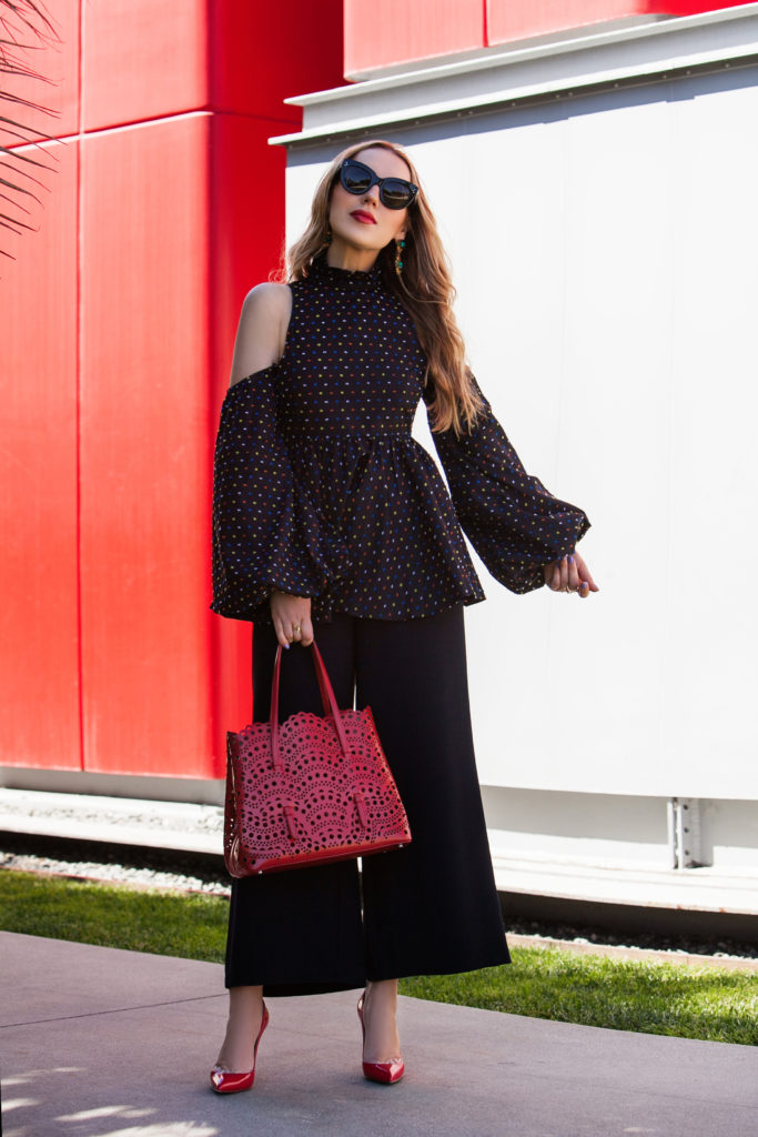 Caroline Constas Polkadot top,Caroline Constas Peplum dot top,Caroline Constas balloon sleeve peplum Top,Celine Cateye sunglasses,Caroline Constas polka dot peplum top,How to wear cold shoulder trend,Cold shoulder top trend,Christian Louboutin red pigalle follies,Christian Louboutin Pigalle Pumps,Caroline Constas Peplum top,Caroline Constas cotton top,,Alaia Vienne laser-cut leather tote,Alaia Vienne laser-cut bag,what to wear on mother's day