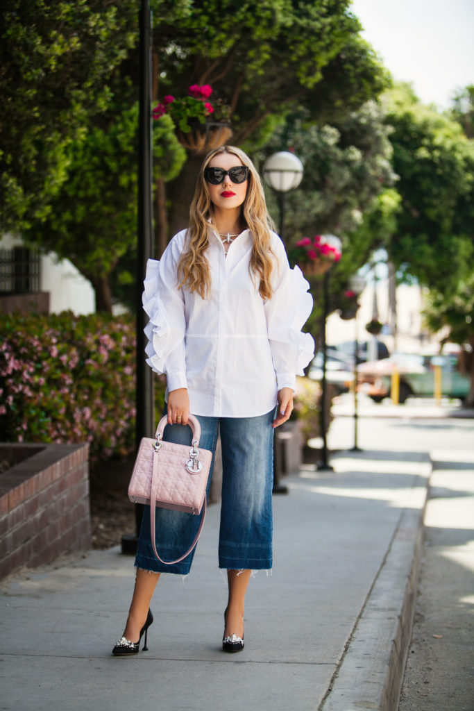 ASOS Shirt With Open Ruffle Sleeve,Miu Miu Embellished satin pumps,Celine cat eye sunglasses,Los Angeles style blog influencer,Denim with white button-down shirt,Santa Monica style photo shoot,Miu Miu Pearl Embellished satin pumps,Levi's Womens The Culotte,How to style denim culottes,Dior Pink Lady Dior Bag,Chanel Chocker,Chanel Necklace,ASOS Cotton Shirt With Open Ruffle Sleeve,Miu Miu pearl pumps with Lady dior bag,Lady Dior Bag