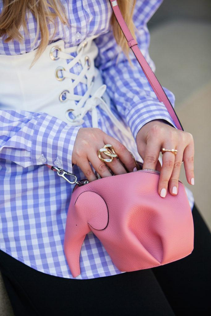 Zara corset belt,How to wear gingham,Lace up Corset Belt,How to wear oversized sleeves,Zara Lace up corset,How to wear Lace up Corset trend,Loewe Elephant Bag,Dolce & Gabbana Embellished Cat Eye Sunglasses,Dolce & Gabbana Flower Embellished Cat Eye Sunglasses,Gingham shirt,Dolce & Gabbana Cat Eye Sunglasses,ASOS Lilac Gingham Check Shirt,ASOS Check Shirt,ASOS Gingham Check Shirt,Loewe Pink Elephant,Corset belt trend
