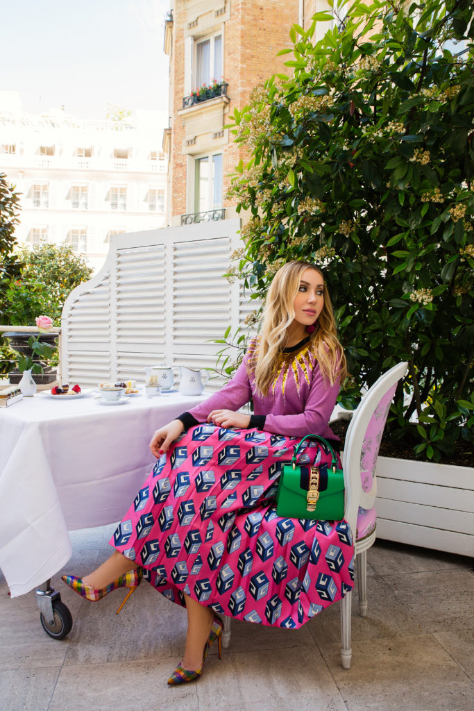 Le Bristol Paris Hotel afternoon tea,Embroidered Gucci lurex knit top,Gucci GG Wallpaper print silk skirt,Christian Louboutin Pigalle Follies metallic jacquard pumps,Gucci Embroidered lurex knit top,Gucci Embroidered Metallic Sweater,Le Bristo Paris Hotel terrace,CHRISTIAN LOUBOUTIN Pigalle Follies disco,rebecca de ravenel earrings Les Bonbons,Gucci sequin sweater,le bristol paris tea,Gucci Pre-Fall'17,Gucci Look fall winter 2017,GG Wallpaper-print pleated silk midi skirt,Gucci mini sylvie green bag,Le Bristol Paris Hotel room with the view,Afternoon Tea at Le Bristol Paris