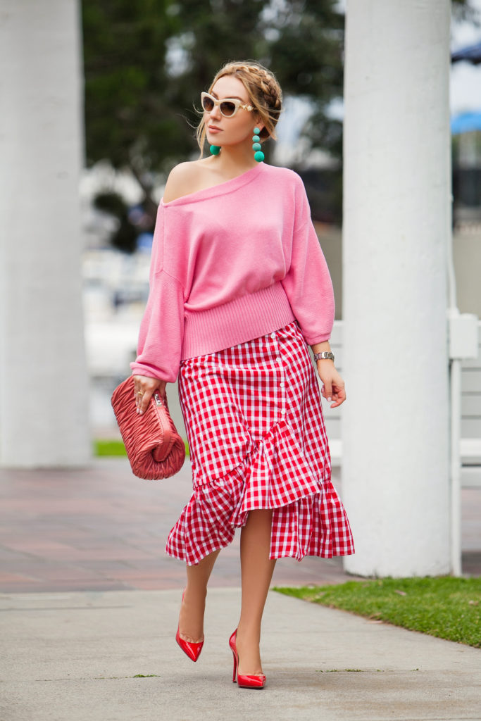 How to wear red shoes,Zara red gingham skirt,Christian Louboutin Red Pigalle Follies 100 pumps,Pink anthropology sweater,Zara picnic gingham skirt,Red and pink outfit,Zara red gingham skirt with pink sweater,How to wear gingham,Zara red wrap check skirt,how to wear pink and turquoise,How to wear red with pink,Rebecca de Ravenel earrings,Christian Louboutin Pigalle follies red pumps,Miu Miu Matelassé Leather Shoulder Bag,Miu Miu Matelassé Bag