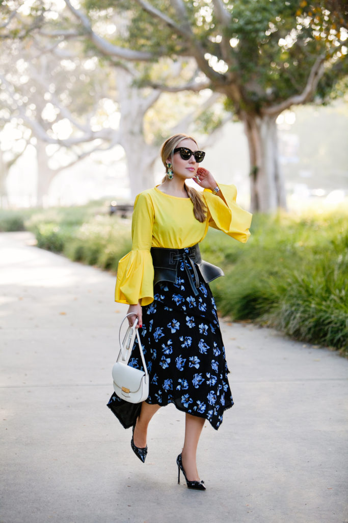 Loewe obi belt,Zara top 2017,yellow with purple look,Proenza Schouler floral midi skirt,Yellow with floral print look,celine white bag,Loewe belt, How to wear yellow,How to wear bell sleeves,Proenza Schouler printed skirt,Loewe obi belt in black,Dior laser-cut pumps,Proenza Schouler floral skirt,Celine trotteur bag,Zara bell sleeves top