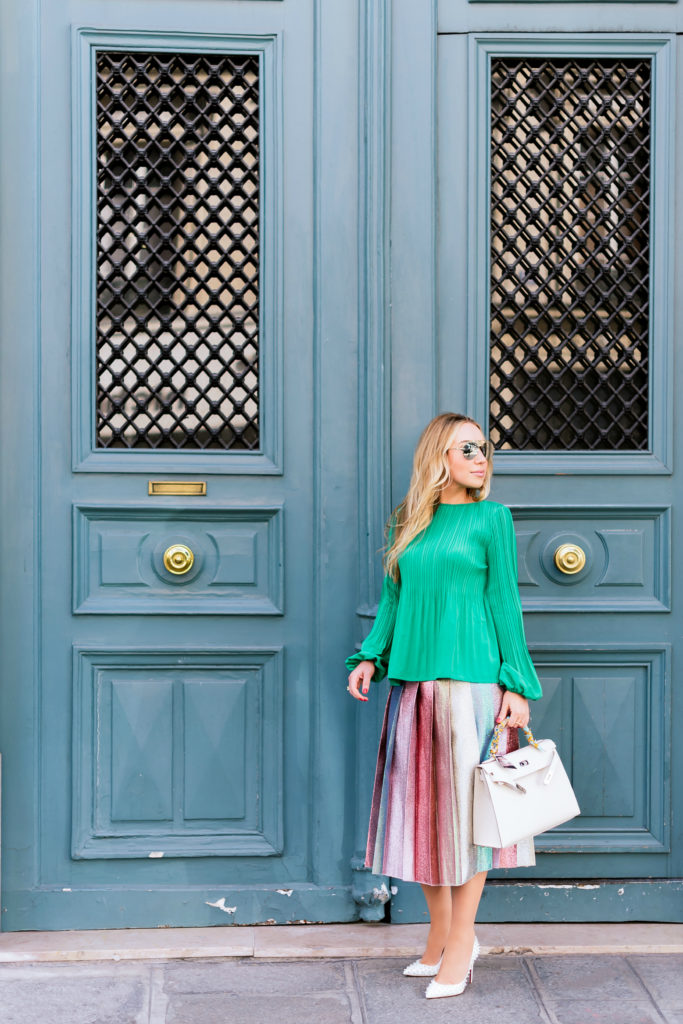 Hermes Kelly fashion photoshoot in Paris,Maje LOCKIN Top with pleating,Gucci pleated multicolor lurex skirt,Christian Dior Revolution Aviator Sunglasses,Maje LOCKIN To,Christian Dior Revolution 58mm Aviator Sunglasses,Gucci Pleated lamé skirt,Gucci Pleated lamé midi skirt,Parisian doors, green,pantone 2017,christian louboutin ab pigalle follies pumps