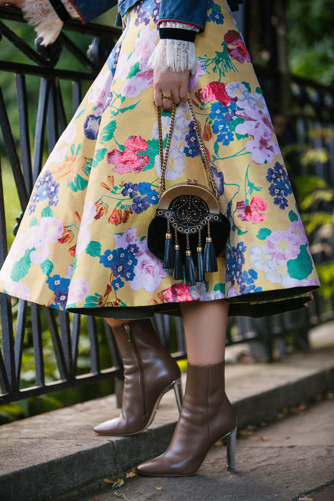 yellow floral Valentino skirt,floral print with denim,Valentino floral skirt,How to style yellow print for fall,Marc by Marc Jacobs Victoria Denim Jacket,How to wear floral in fall,Denim jacket with midi skirt,Dior boots,Marc by Marc Jacobs Victorian Denim Jacket,Valentino floral jacquard midi skirt,Marc by Marc Jacobs Chevron Victoria Denim Jacket,cadet style denim jacket,Dior silver heel boots,floral midi skirt,Midi jacquard skirt,Miu Miu velvet tassel bag,Miu Miu velvet bag,How to Dress Up Denim