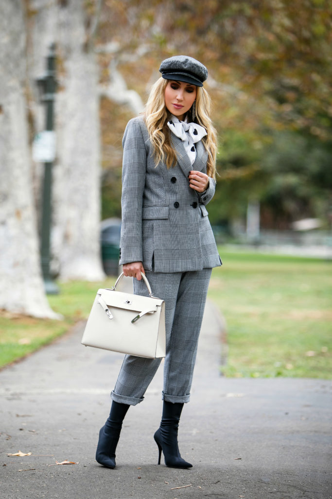 H&M plaid jacket,how to wear checkered suit,How to wear plaid suit,How to wear a baker boy hat with a suit,H&M plaid Double-breasted Blazer,Balenciaga Knife booties,brixton cap,brixton fiddler hat,Balenciaga Knife stretch-jersey ankle boots,plaid suit with boots,Balenciaga boots with Hermes Kelly Bag,Brixton hat,How to wear a baker boy hat,H&M plaid suit,isabel marant A WILD SHORE EARRINGS,Checkmate,isabel marant earrings