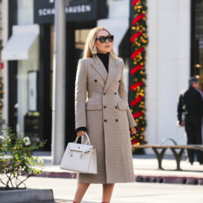 Alexander McQueen Buckled Leather Ankle Boots,Balenciaga Double-Breasted Coat,Celine shadow sunglasses,Balenciaga hourglass wool coat,Balenciaga Hourglass coat,balenciaga beige coat,Balenciaga Coat,Balenciaga Woo coat,Hermes kelly with balenciaga coat,Loewe Earrings,New Years in Beverly Hills,Alexander McQueen ankle boots,Alexander McQueen Red Leathe ankle boots,Loewe Earth Earrings,Holidays in Beverly hills,Balenciaga Double-Breasted Houndstooth Coat,Rodeo Drive fashion photo shoot