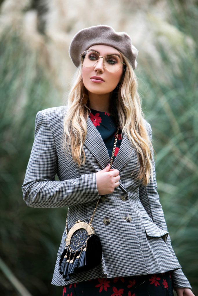 miu miu tassel bag,winter florals,hm blazer,hm dark floral dress,hm plaid blazer,how to wear beige beret,Balenciaga knife boots,how to style a beret with plaid,Hm peplum jacket,balenciaga sock boots,Beret look,gucci aviator glasses,ways to wear reading glasses,celine brass earrings,gucci aviator glasses,how to wear blazer with the dress,H&M floral dress,Dark Winter Florals Meet Plaid