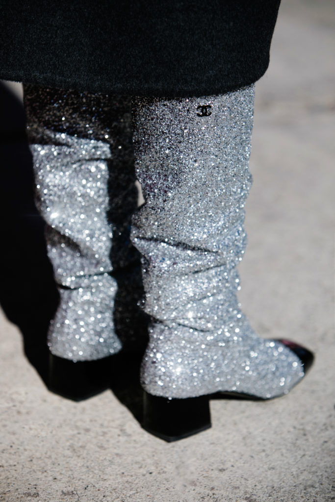 sparkly glitter boots by Chanel,how to wear glitter shoes,Museum of Ice Cream LA,Chanel sequin boots,chanel bag with boots,Chanel statement boots,chanel sparkly boots,Dior beret look,Dior leather beret,dior logo beret,chanel shiny boots,chanel logo boots,Sparkly Chanel boots